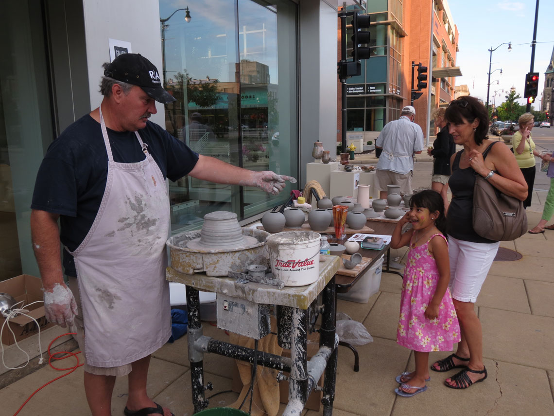 Alex's pottery demonstration outside the Racine Art Museum, Racine Gallery Night, July 2012